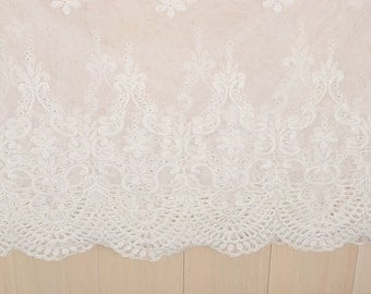 "2 yard 28cm 11.02"" wide ivory mesh tulle gauze fabric embroidered tapes lace trim ribbon 1102 free ship"
