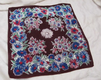 Beautiful Burgundy Floral Cotton Hankie Handkerchief