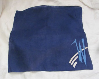 Solid Blue Cotton Hankie Monogrammed W