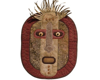 """African-Inspired Quilted Mask - Wall Hanging - HUNTER- 12"""" w x 17"""" h"""