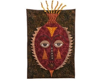 """Quilted Mask Wall Hanging - """"TEARFUL"""" - 18"""" W x 29"""" H"""