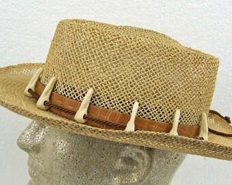 Vintage Laredo Mens Western Hat Original Box Woven 1988 Crocodile Dundee Hat Size Large Faux Alligator Teeth