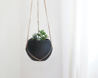Concrete chalkboard hanging planter for herbs, succulent or cactus planters | Black Chalk Board Cement Pot & Jute Hanger | Indoor garden