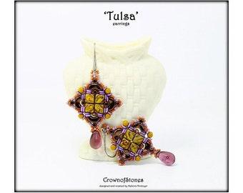 Bead pattern DIY tutorial Tulsa earrings with Silky, Arcos, MInos, O beads, round beads, seed beads, terdrop beads