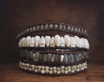 eclectic leather 4x wrap bracelet // creamy white & blue Czech glass // glass seed beads // luminous labradorite // shell //