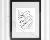 Inspirational 1 Thessalonians 4:11 hand lettered illustration print 8x10 inches, digitally printed feat. scripture, work with your hands
