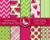 50% off Watermelon Paper Pack - 10 Printable Digital Scrapbooking papers - 12 x12 - 300 DPI