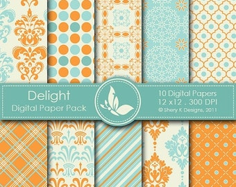 50% off Delight Paper Pack - 10 Digital papers - 12 x12 - 300 DPI