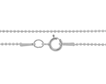 Ball Chain with clasp Sterling Silver 1mm 20 Inch  - 5pcs Neck chain (3655)/5