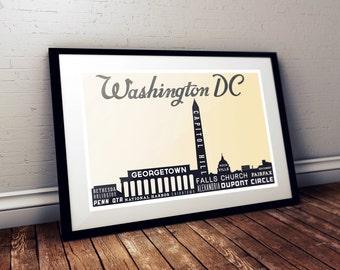 Modern Art Poster, Washington DC, Industrial Sign, Vintage Style, Retro Print, Typography, Wall Decor, 18 x 24