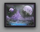 "Original Abstract Painting- Planet - Space - Galaxy - Saturn - Neptune - Venus ~ 18"" x 24"""