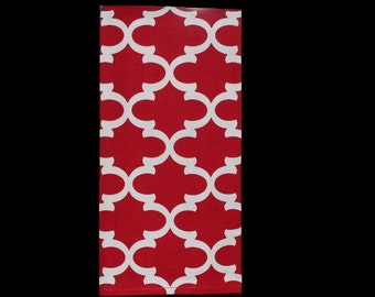 Red Quatrefoil Towel | Housewarming Gift | Hostess Gift | Gifts for Her | Wedding