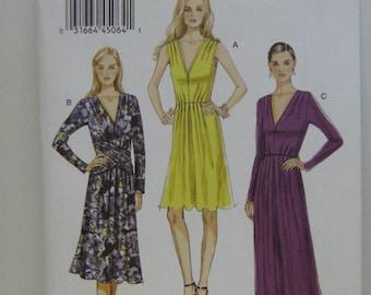 Dress Pattern for Knits, Vogue 8921 Dress Pattern, Vogue Long Gown Pattern, Short Dress Pattern, Plus Size Dress Pattern, SZ 14 through 22