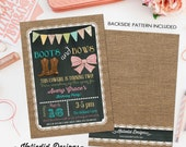 cowgirl birthday invitation boots or bows burlap chalkboard bunting banner lace baptism country fair bash (item 227) shabby chic invitations