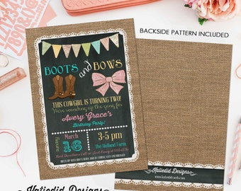 cowgirl birthday invitation boots or bows burlap chalkboard bunting banner lace baptism country fair bash (item 227) shabby chic invitation