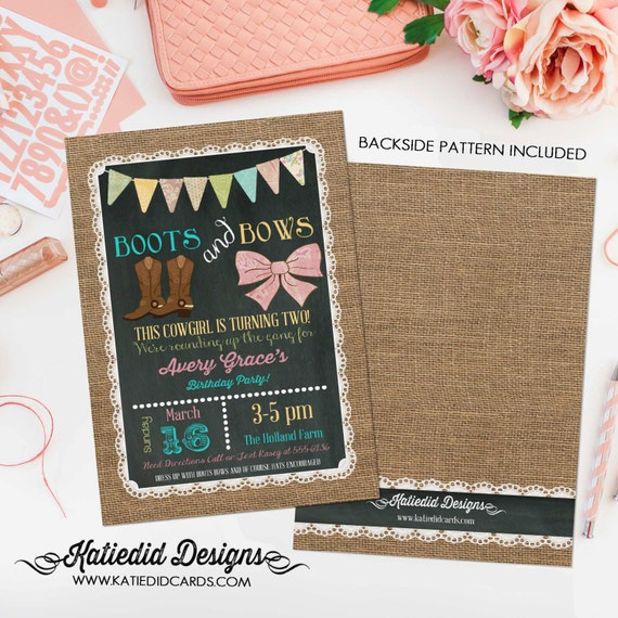 burlap lace boots and bows little girl birthday | cowgirl birthday invitation | 1st birthday | chalkboard chic invite | 227 Katiedid Designs