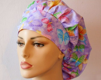 Scrub Hats Butterfly Flurry Glitters on  Purple Surgical Bouffant Scrub Hat with a Matching Headband Made in USA