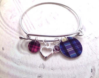Scottish Tartan Bangle Bracelet with Heart and Birthstone, Highland Dance, Scotland Jewelry Purple, Blue and Red