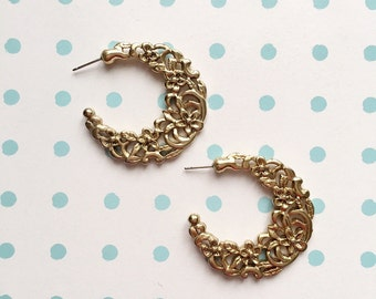 80's Vintage Gold Filigree Earrings