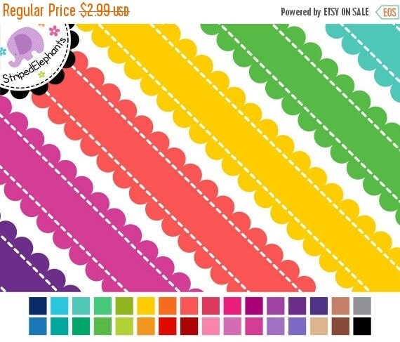 40% OFF SALE Stitched Scalloped Digital Ribbons - Clipart Borders - Instant Download - Commercial Use