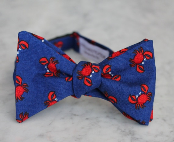 Red and Blue Crabs Bow Tie - clip on, pre-tied with strap or self tying - wedding ties - groomemen gift, fathers day gift, beach wedding