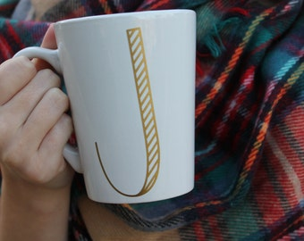 Striped Initial Gold Foil Mug