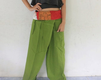 patchwork inside fold over with olivegreen  full length  Thai fisherman pants hand weave cotton,size S-XL,unisex pants,yoga