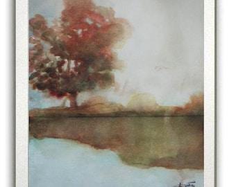 Golden Dusk - Original watercolor painting - landscape painting - rural tree, lake