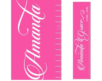 Girls  Growth Chart Children Canvas Growth Chart Pink Personalized Cursive