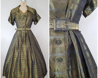 Vintage Late 1940s/Early 1950s Evening Gown / Sheila Lynn Original / Shimmery Olive Green Formal Dress / Small