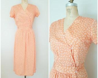 Vintage 1980s Dress / 80s Does 40s / Peachy Geometric Dress / Small Medium
