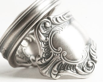 Chunky Silver Victorian Ring, Organic Ring, Sterling Silver Spoon Ring, Ornate Fancy Ring, Rare Gorham Silver, Adjustable Ring Size (6158)