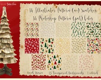 Christmas Digital Patterns .ai .pat Illustrator Photoshop Overlays Xmas Holiday Graphics Seamless