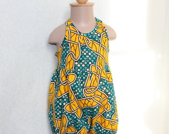 Playsuit in yellow and blue African Print