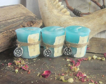 Divination Spell Candle  - SET OF 3 - witchcraft wicca wiccan candles pagan occult altar supplies scented magick candles spells