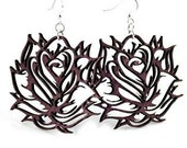 Roses - Laser Cut Wood Earrings
