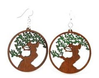 Bonsai Tree Earrings -  Wood Earrings
