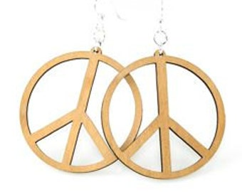 Large Peace Sign Wood Earrings