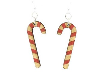 Candy Cane earrings - Laser Cut Wood