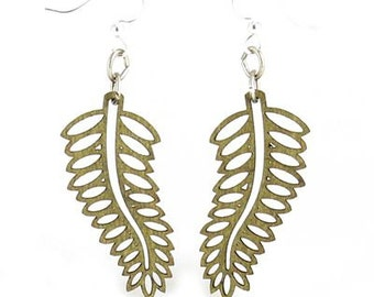 Open Fern Earrings - Cut Wood Earrings