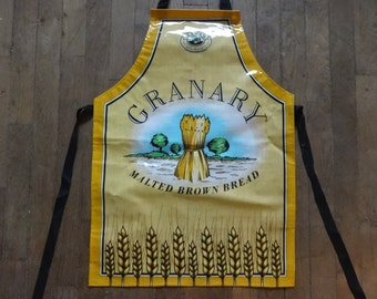 Vintage English Cotton Coated PVC Granary Malted Brown Bread Apron Cooking Kitchen Collectable circa 1980's / English Shop