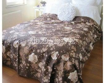 Shabby chic bedding rose floral print Twin Full Queen Super KING duvet cover Custom Bedding Brown beige cream  120x120 120x98 118x114 116x96