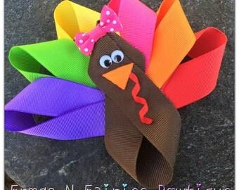 Thanksgiving Turkey Ribbon Hairbow