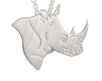 Animal Avengers necklace, Rhino charm - Sterling Silver necklace, charm pet memorial gift