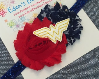 Wonder Woman Feltie Flower Headband Or Clip, Wonder Woman Headbands and Bows, Wonder Woman Accessories, Girls Wonder Woman Costume