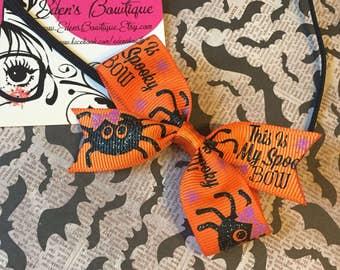 Spooky Spider Bow, Orange Halloween Hair Bows, Headbands or Clips, Halloween Bows, Simple Bow Headbands, Fall Hair Bows, Simple Fall Bow