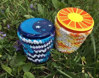 ON HOLD Two Medicine Recycled Glass Stash Jar set, Hand Wrapped, Hand Painted, large, hippie, crochet, container, OOAK