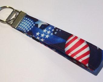 American Flag Patriotic Heart Key Fob, Key Chain, Key Ring, Gifts under 10, Purse Accessory