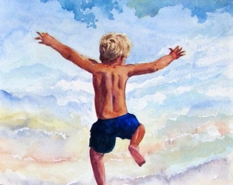 Beach Boy Art Print, Nursery Decor, Beach Decor, Beach House Art, Beach Wall Art, Beach Print