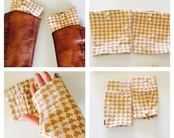 Boot Cuffs & gloves set, Brown/tan Toppers, Boot Socks, Faux Leg Warmers, Chunky, Thick, Stretchy, Made in the USA, item no DeBg10